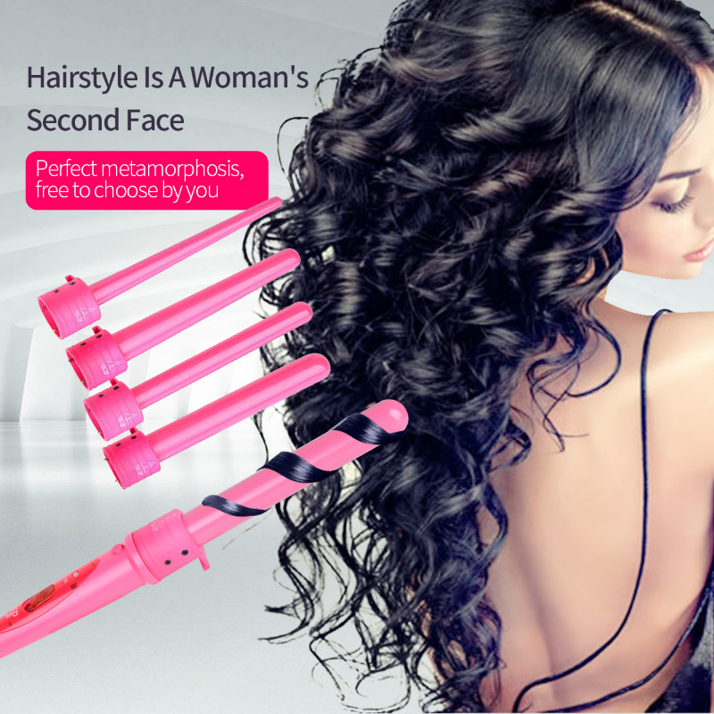 5 Parts Multifunction Hair Curling Iron Machine Interchangeable Ceramic Hair Curler Roller Salon Curling Wand Set with Glove 456 titanium plates hair straightener lcd display straightening iron mch fast heating curling iron flat iron salon styling tools