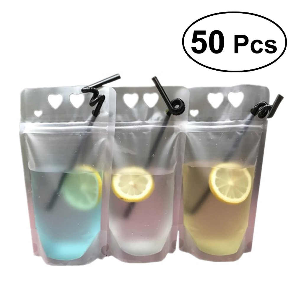 50PCS Clear Drink Pouches Bags Heavy Duty Hand-held Translucent Reclosable Zipper Stand-up Plastic Drinking Bags Bottom
