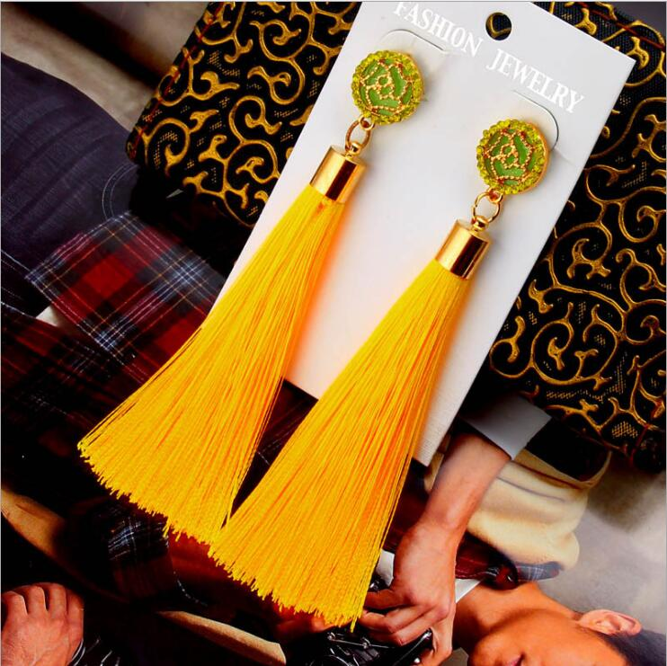Exaggerated Rhinestone Long Tassel Earrings 2017 New Arrival Fashion Brincos Bijoux Crystal Dangle Earrings Women's Jewelry 25