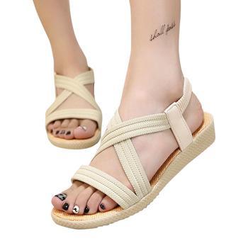 Mounchain Women Girls Shoes Simple Color Flat Heel Elastic Strap Stylish Sandals 1