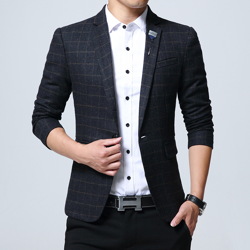2017 new men's large high quality fashion  blazers  male Autumn And Winter mesuit jackets business outerwear M-5XL