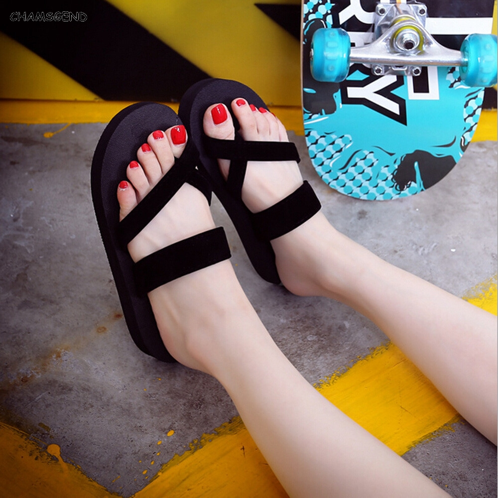 CHAMSGEND Summer Sandals New Cozy Memory Foam Shoes Woman Summer Wedge Comfortable Flip Flops Shoes Beach Slippers  F08