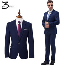 Xmy3dwx (Куртки + Штаны) для мужчин высокого класса бизнес Slim Fit пиджаки/мужской торжественное платье/мужские повседневные два-Костюм из нескольких предметов размер S-5XL