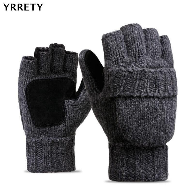 YRRETY Unisex Plus Dicken Männlichen Finger Handschuhe Männer Wolle Winter Warme Ausgesetzt Finger Fäustlinge Gestrickte Warme Flip Halb Finger Handschuhe