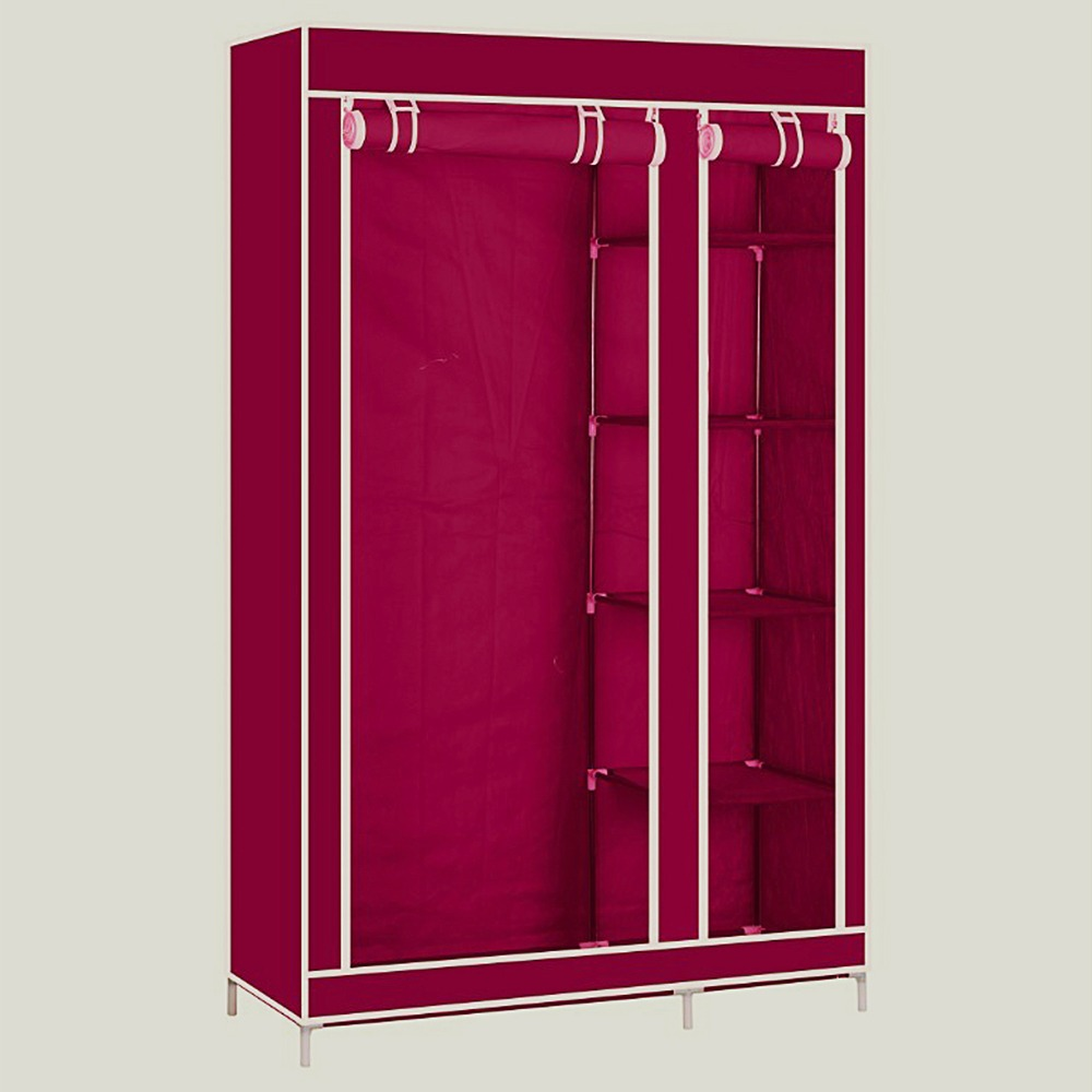 купить 175CM Portable Fabric Wardrobe Closet Storage Cabinet Organizer Clothes Wardrobe Shoe Rack Shelves For Home Furnishing по цене 2336.39 рублей