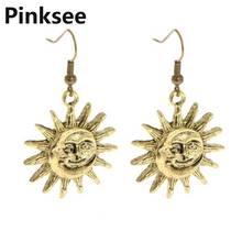 цена на Fashion Dangle Drop Earrings Retro Vintage Sun Moon Pendant Earrings for Women Brincos Fashion Jewelry Accessories