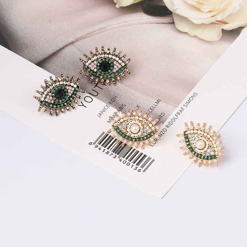 Pendientes de ojo de cristal a la moda de JURAN para mujer, joyería circular para oreja Brincos, pendientes para mujer de moda, Joyeria Marcas Famosas