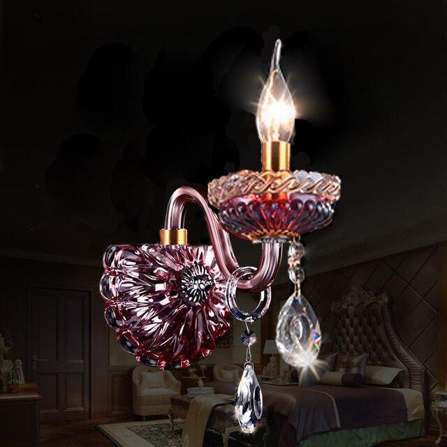 Lustres de cristal muur lampen Luxe Woonkamer Paars rode kristal ...