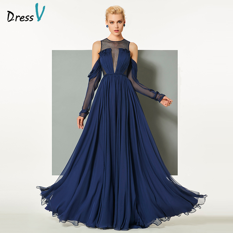 Dressv Dark Navy Blue Evening Dress Scoop Neck Sweep Train Long