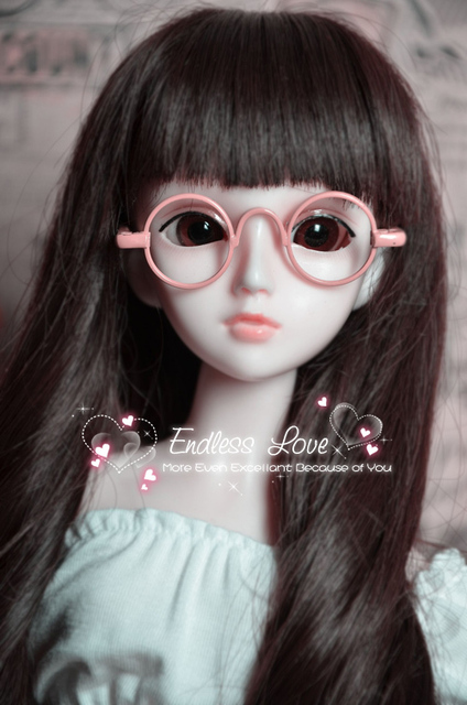 Nice Pink Round Glasses For BJD 1/3 1/4 MSD  Doll Accessories GS12