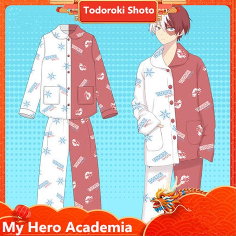 High Quality Anime My Hero Academia Cosplay Costumes Women Men Pajamas Todoroki Shouto Cotton Bathrobe Top Pants Suit New 2019