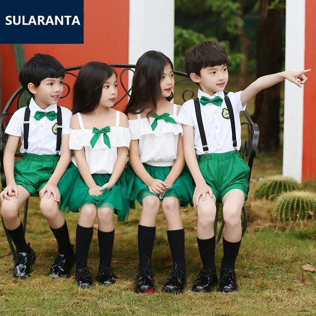 children japanese korean school uniform for girl boy white shirt