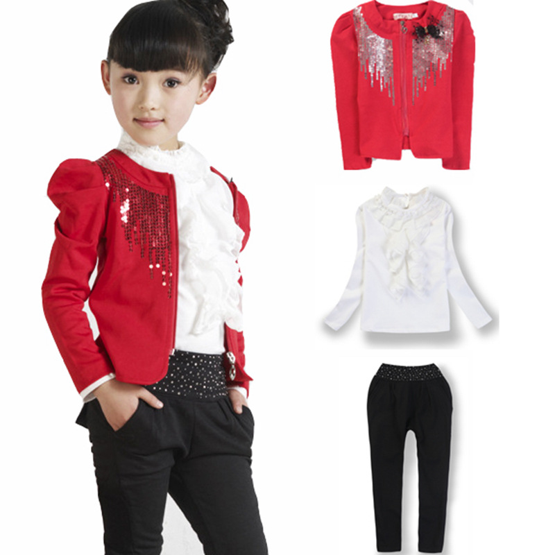 children clothing set 2018 new Girls clothes sequined three-piece suit Spring/autumn Kids Sports Suits Long sleeve Girl clothing girls suit 2017 autumn children s clothing smile pattern sports set big kids girl bat long sleeve 2 pcs sets black pink clothes