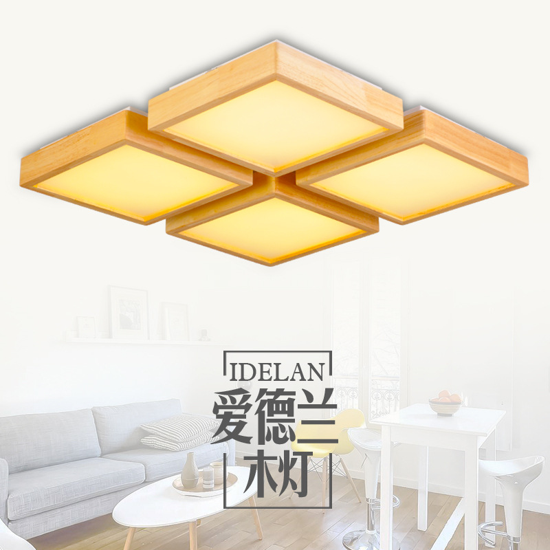 Wooden furniture, living room, Japanese style solid wood, Nordic log led ceiling lamp