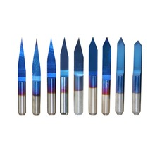 SHINA 10pcs Nano Blue Coated Milling Cutter V Shape Flat Bottom Carbide PCB Engraving Bits CNC Router Cutter 10-90 Degree New цена