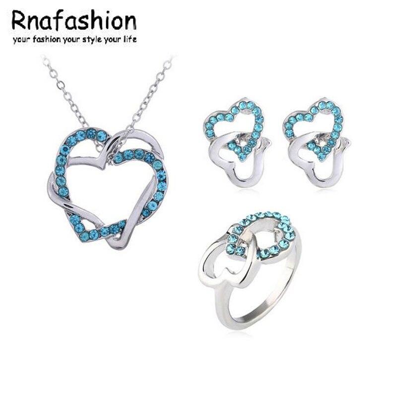 Trendy Fashion little secret wound double heart pendant earrings Heart to Heart ring Pendant Necklace Stud Earring Silver Plated