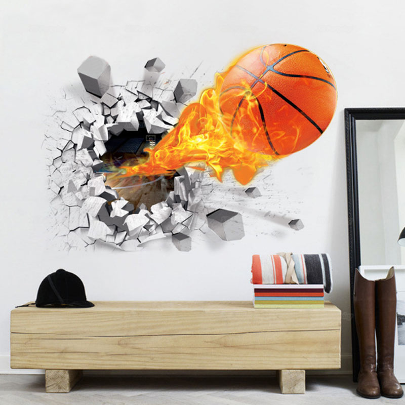 New 3d Basketball Baseball Wallpaper Poster Removable Wall