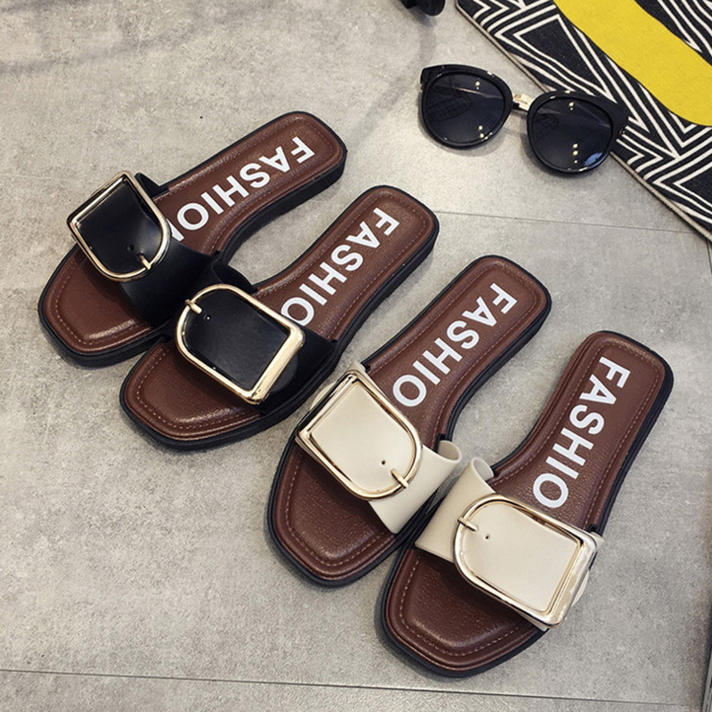 Laamei Cozy Shoes Women Summer Buckle Belt Square Toe Slides Leisure Flip Flops Women Fashion Flat Slippers Outside Ladies Shoes aimeigao large size summer slides women slippers ladies flat heels shoes open toe comfortable outside slippers women shoes