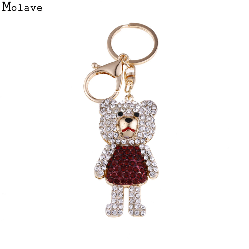 Cute Bear Crystal Rhinestone Keyrings Key Chains Rings Rhinestones Alloy Key Chain Ring Keyring Metal Keychain Adjustable se203