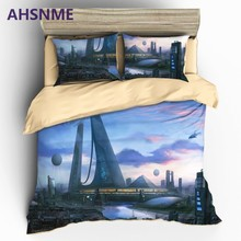 AHSNME Australia Europe USA Custom Size Quilt cover pillowcase High Definition 3D Printing Bedding sets King Sci-Fi Quilt Kit(China)