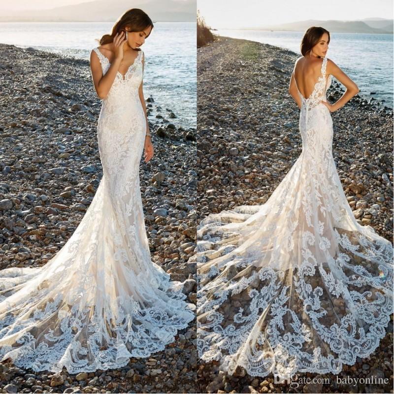 Gorgeous Beautiful Lace Flowers Mermaid Wedding Dresses Summer