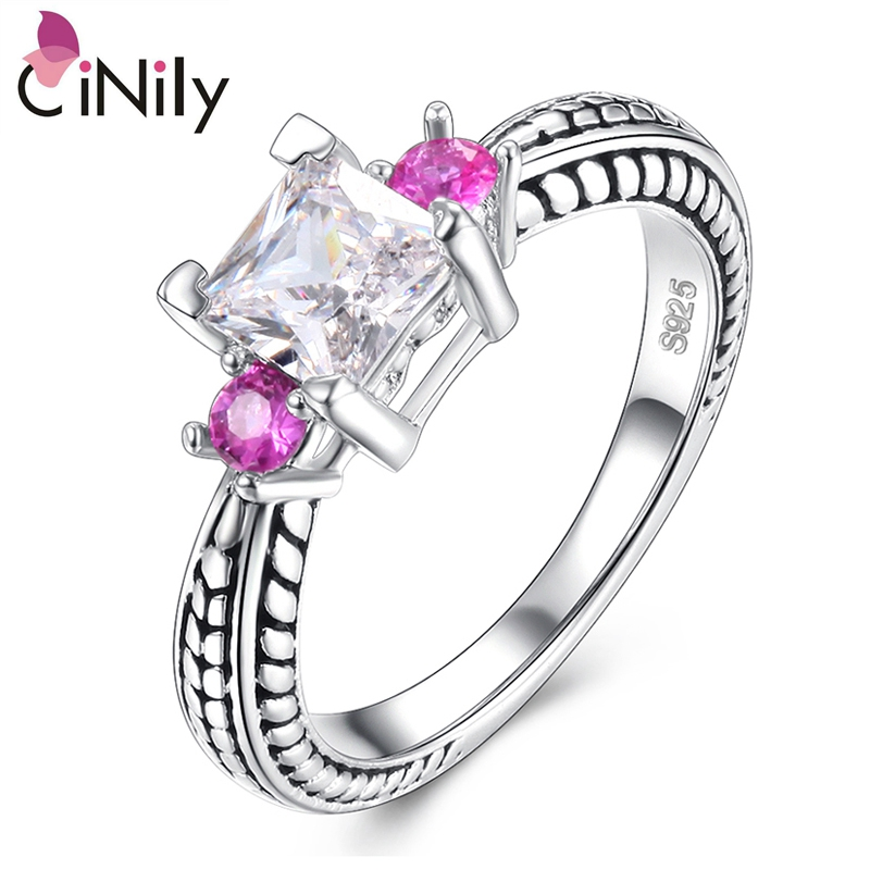 Cinily Jewelry Ring-Size Wedding-Gift Kunzite Silver-Plated White Cubic-Zirconia Fashion