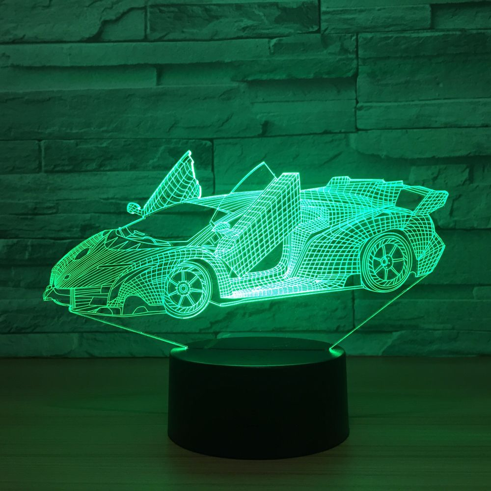 The Sports Car Colorful Vision Stereo LED lamp 3D Night Ligth Colorful Acrylic lamp Remote Control Atmosphere lamp Best Toy Gift сетевой удлинитель most a16 3м черный [a16 3]