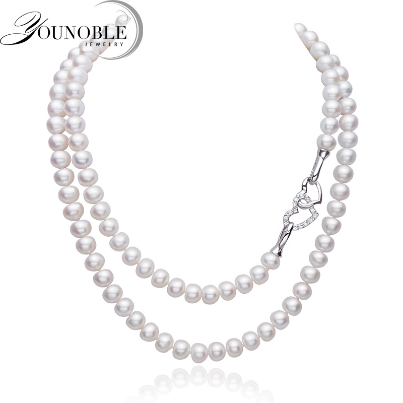 Real Freshwater Long Pearl Necklace for Women,925 Sterling silver Natural Heart Long Necklace anniversary gift real freshwater long pearl necklace for women natural pearl pendant necklace 925 silver jewelry wedding best gift box white