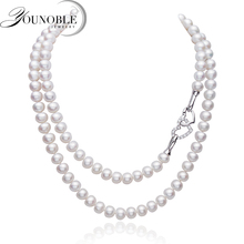 Real Freshwater Long Pearl Necklace for Women,925 Sterling silver Natural Heart anniversary gift