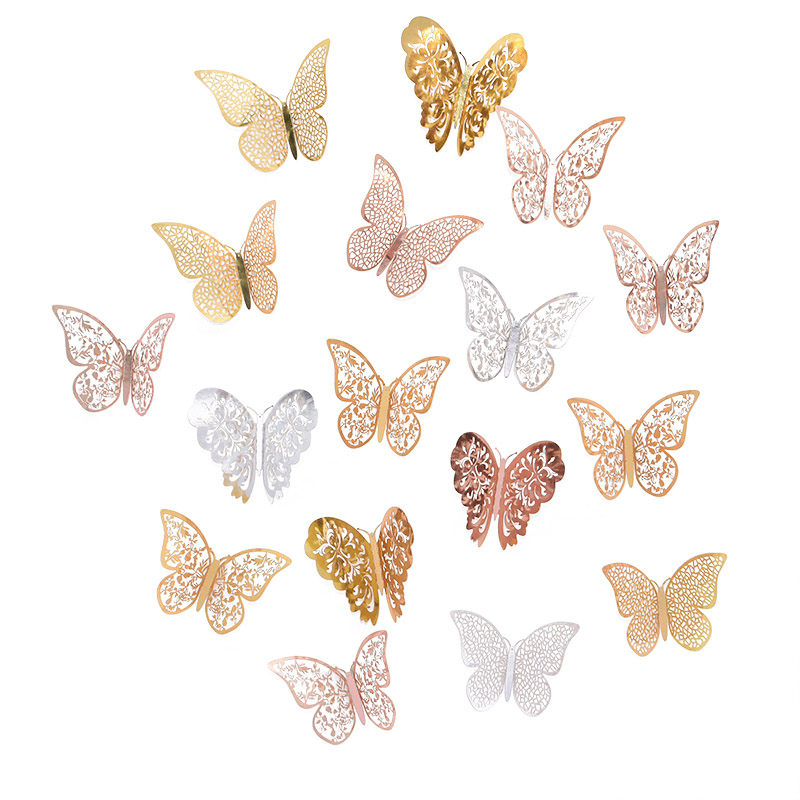 12Pcs Rose Gold Silver Hollow 3D Butterfly Wall Stickers For DIY Party Kids Wedding Room Decoration Home Wall Sticker Decal Deco