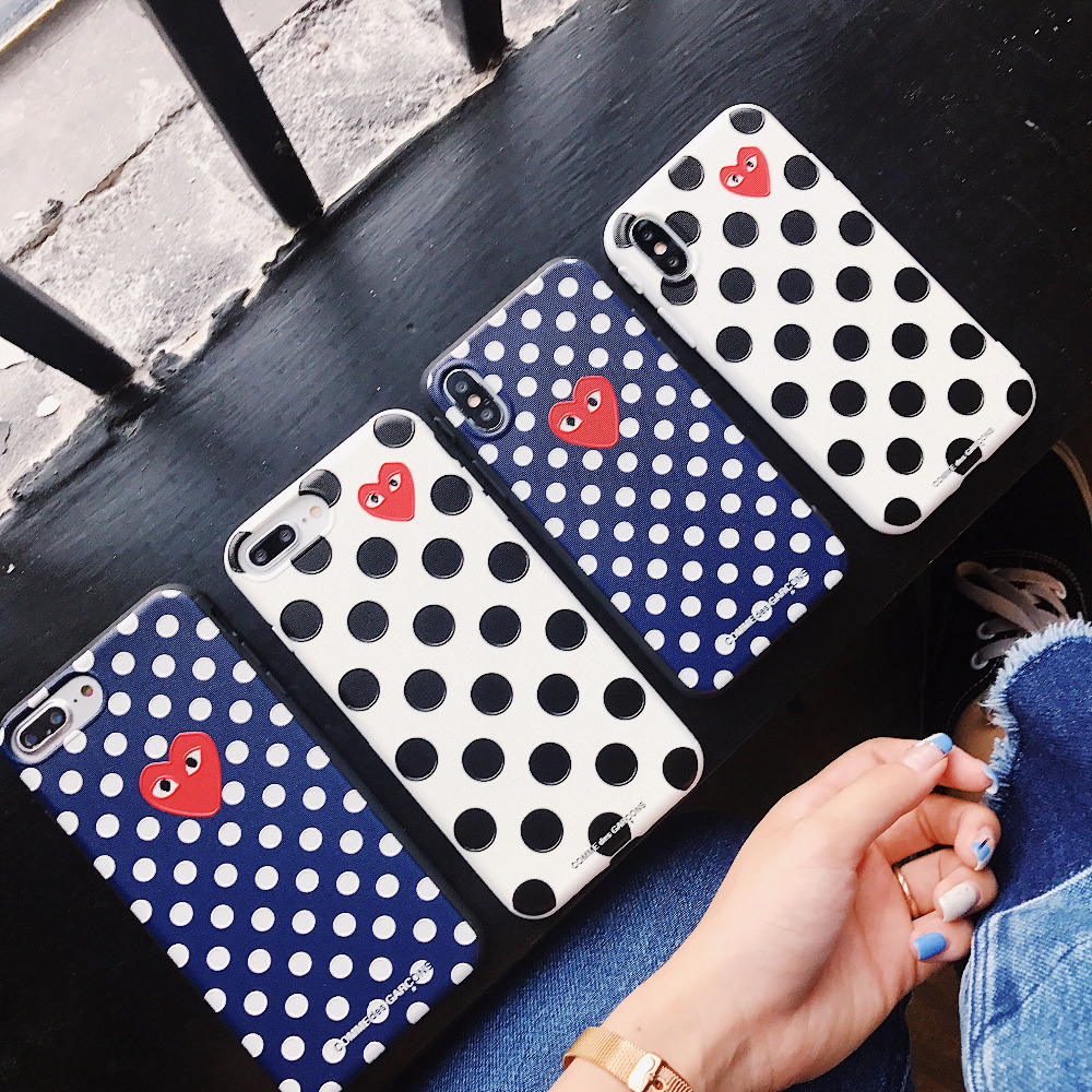 JSPYL CDG Comme Des Garcons Phone Cases For iPhone X 7 8 Plus 6 6s Plus Play Heart Soft Silicone Back Cover For iPhone X Cases