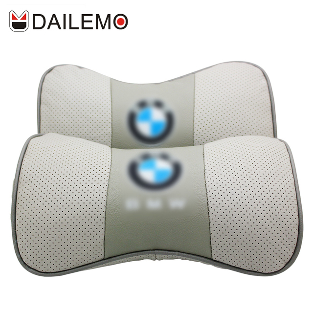 DAILEMO Silver Leather Car Headrest High Quality 2Pcs Neck Support Car Seat Cover Cushion Cover For BMW 320 520 X1 X2 X3 X4 X5 X