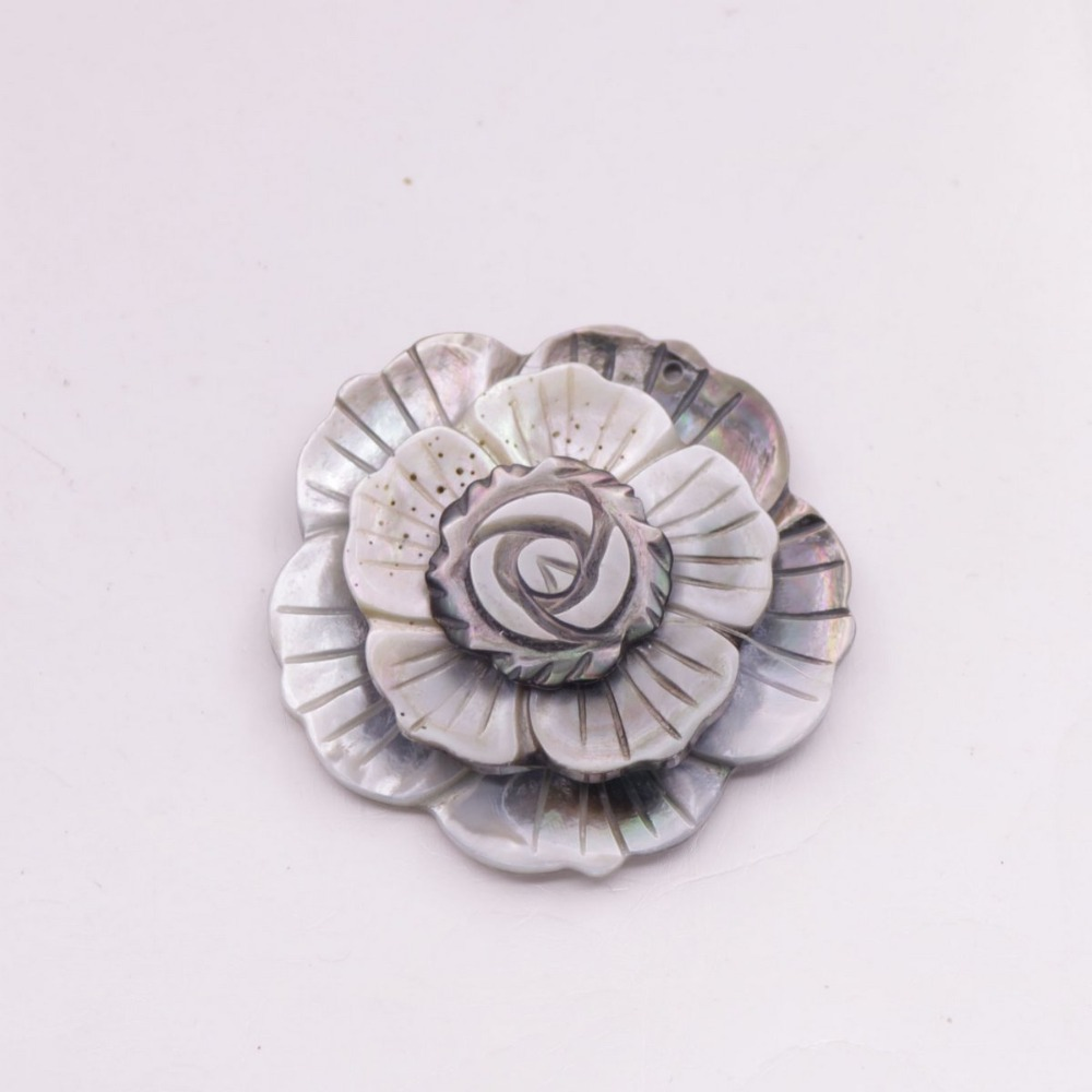 Купить с кэшбэком 5 PCS 45mm Pendant Jewelry Shell 3 layers Flower Natural Black Mother of Pearl