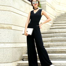 Women Summer Jumpsuit Chiffon Elegant Black High Street Full Length Party Jumpsuits Plus Size 3XL 4XL