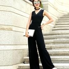 Women Summer Jumpsuit Chiffon Elegant Black High Street Full Length Party Jumpsuits Plus Size 3XL 4XL gbwd black 4xl