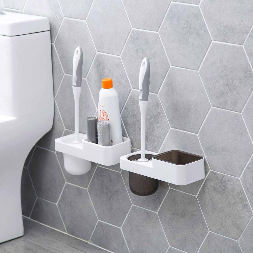 Wall Mounted Toilet Brush Holder Set Wash Room Plastic Storage Shelf Rack Toilet Cleaner Holder Bathroom Accessories
