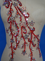 Hand made dazzling red/clear AB colour sew on Rhinestones applique Peacock Shape crystals trim patches 43*22cm for dress