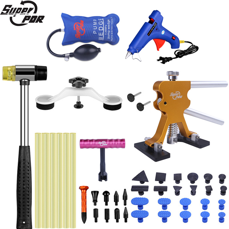 Super PDR Tools Auto Dent Puller Suction Cup Paintless Dent Repair Tools Kit Air Pump Wedge Rubber Hammer Glue Gun Hand Tool Set adjustable pdr repair tools set tap down 9heads rubber hammer paintless dent tool multi function rubber hammer