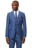 New Arriving Custom Made Slim Fit Light Blue 3pcs With 2 Button Peaked Lapel Custom Made