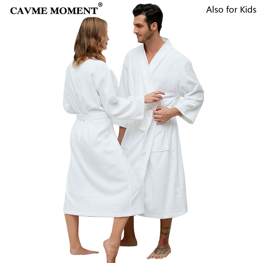 CAVME Hotel Towel Bathrobe Cotton Terry Robes Kimono Long Nightgown Lounge Sleepwear for Lover Solid Color