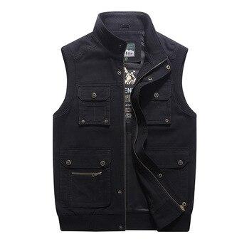 Vest Men Tactical Vest Multi-pockets Military Vest Pure Cotton Plus Size 7XL 8XL Double-sides Wear Waistcoat