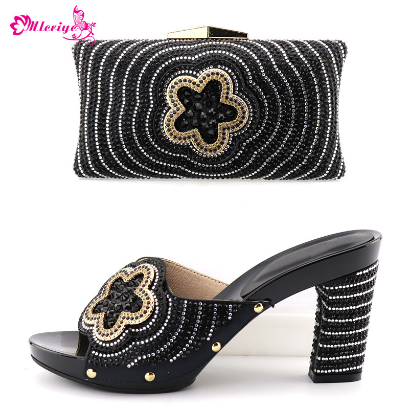 Italian Shoes with Matching Bags for Women Nigerian Women Wedding Shoes and Bag Set Decorated with Rhinestone Pumps Women Shoes chic women s rhinestone decorated floral ring