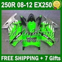 7gifts+ For Kawasaki 08 09 green 10 11 12 Ninja 250R 17J247 EX250 EX 250 ZX250R Fairing green silver 2008 2009 2010 2011 2012