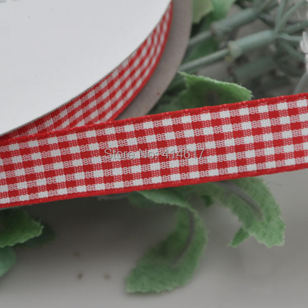 Upick 3 8 15mm Red One Roll font b Tartan b font Plaid Ribbon Bows Appliques