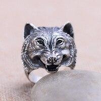 Vintage Wild Wolf Head 925 Sterling Silver Men Ring