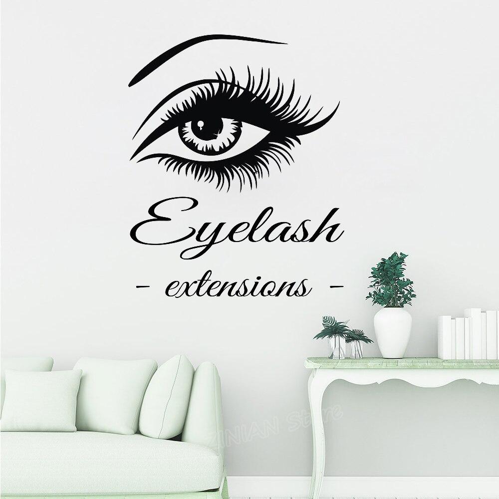 עין ריסים הרחבות קיר מדבקות אמנות ויניל בית וול דקור גדול ריסים גבות טפט Diy מדבקות קיר חדש הגעה Z790