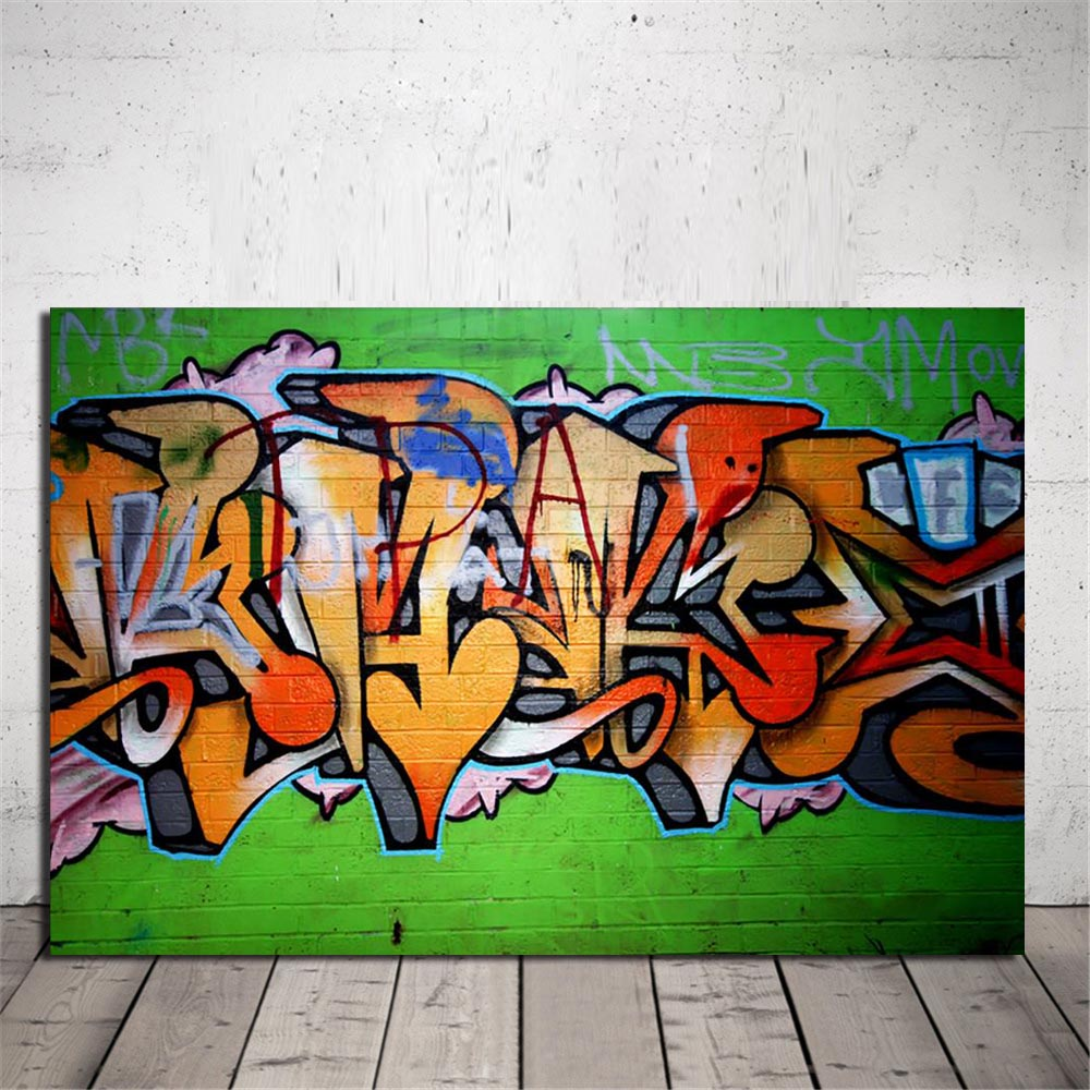 Graffiti art printed picture modern abstract street graffiti canvas art wall painting for living room wall decor unframed