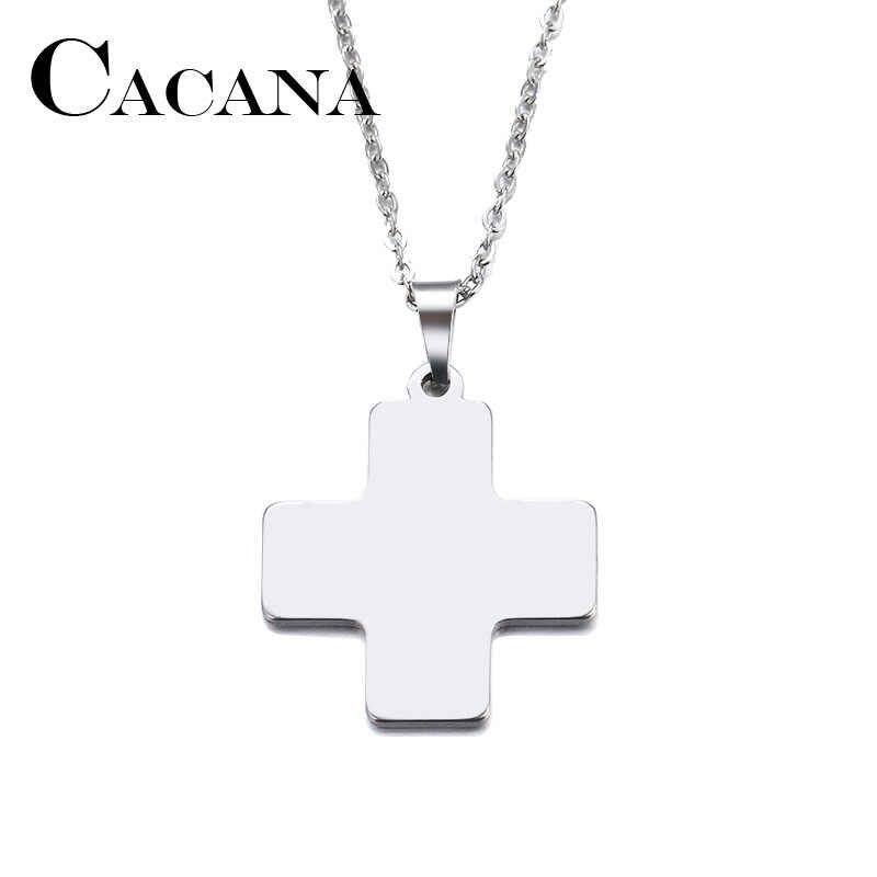 CACANA acier inoxydable collier pour femmes homme brillant croix or et argent couleur pendentif collier bijoux de fiançailles