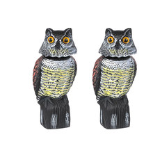 2pcs Large Realistic Owl Decoy W/ Rotating Head Bird Crow Scarer Scarecrow(China)