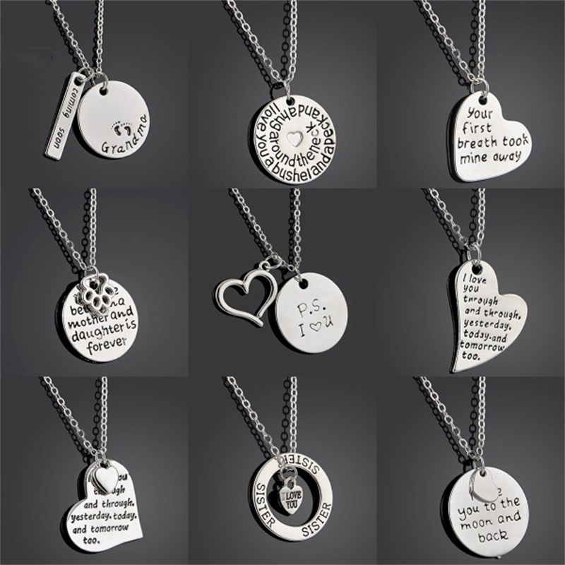 Heart Puzzle I Love You Grandmother Granddaughter Grandma Mother Daughter Sister Sis Women Dog Paw Family Pendant Necklace Gifts